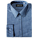 Men's Long Sleeve Solid Point Collar Gingham Dress Shirt (QRJ002-4) -Free Shipping by Air Mail