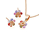 Yellow Gold Gemstone Flower Stud Earring+Pendant Set(GG1204) (Start From 6 Units)