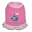 "Pink ""Q Babay "" Dog Dress With Trimmed Ruffle  -Fleece (BV057) (Start From 10 Units) - Free Shipping"