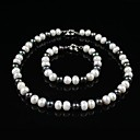 Fashion 7.5 - 8mm A White & 3.5 - 4mm Black Freshwater Pearl 2PC Set  (ZSSX001)