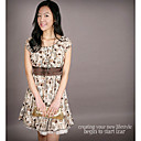 Plated Chiffon Polka Dot Babydoll Dress Coffee (XJQZ007)