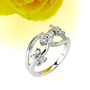 Three Stone Round Brilliant Cubic Zircon Ring in White Gold (SYX--0211)