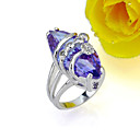 Olivary Cubic Zirconia Ring on Rhodium Plated - CZ Ring RMY2-0006 Amethyst (SZY088)