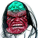 Scary Latex Halloween Mask with Hair For Adult (SZWS018)