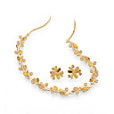 Colorful Cubic Zirconia Floral Earring Stud and Necklace Set - Cubic Zirconia Set 81010 - 10 SZY872
