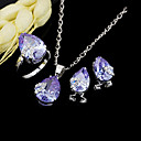 Dazzling Heart Shape CZ Pendant+Earring+Ring Set - Cubic Zirconia Set 81012-60 Lavender (SZY1025)