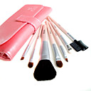 5 Sets Mixed Hair Cosmetic Brush Setes With Free Light Pink Leather Case