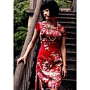 Stehkragen knielangen kurzen Leinen Cheongsam / Qipao / chinesisch Kleid (hgqp199)