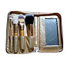 4Pcs Golden Makeup Brush + Wonderful Golden Leather Pouch