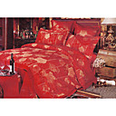 6-pc Luxury Red Jacquard Cotton Full Size Duvet Cover Set - Free Shipping (0586-FZ002)