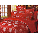 6-pc Luxury Red Jacquard Cotton Full Size Duvet Cover Set - Free Shipping (0586-FZ003)