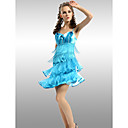 A-line Spaghetti Straps Sleeveless Short / Mini Elastic silk-like satin/ Tulle Quick Delivery Dress (OFGH0278)