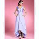 A-line Asymmetrical Chiffon Stretch Satin Mother of the Bride Dress
