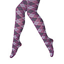 Argyle Opaque Purple Strong Stretched Winter Tights Women's Hosiery (0903AK003-0736)