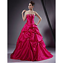 Ball Gown Strapless Floor-length Applique Taffeta Prom/ Evening Dress