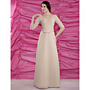 Sheath/Column V-neck Floor-length Satin Chiffon Mother of the Bride Dress