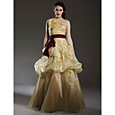 A-line Strapless Floor-length Satin Organza Prom/ Evening Dress (WGY0134)