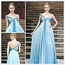 A-line One Shoulder Floor-length Sleeveless Chiffon Quick Delivery/ Evening Dress (OFGC412)