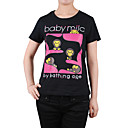 Pink 'baby milo' Patterns Short Sleeves Round Neckline Painted T-shirt / Women's T-shirts (8502BD011-0854)