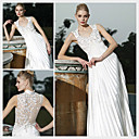 A-line V-neck Floor-length Sleeveless Satin Quick Delivery/ Evening Dress (OFGC383)