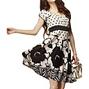 Dot Printed Patterns Waistbanding Gathered Breast Short Sleeves Round Neckline Dress / Women's Dresses (FF-1801BF011-0736)