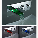 Two Handles Chrome Waterfall LEDBathtub Faucet 0812-LPTW01
