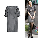 Pleated Half Sleeves Round Neckline Dress / Women's Dresses (FF-1802BE027-0736)