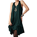 Cotton / Loose Irregular Gathered Hem Design Vest Style Neckline Jersery Dress / Women's Dresses (FF-1801BG001-0736)