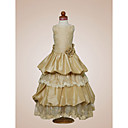 A-line Scoop Floor-length Taffeta Satin Flower Girl Dress