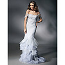 Clearance!Satin Tulle Trumpet/ Mermaid Off-the-shoulder Floor-length Evening Dress inspired by Heidi Klum at Golden Globe