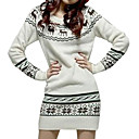 Reindeer Patterns Long Sleeves Round Neckline Sweater Dress / Women's Sweater Dresses (FF-C-BI0736601)
