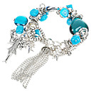 Chunky Designer Multigem with Murano Glass German Silver Bracelet-Swiss Blue(0975-V1003099)