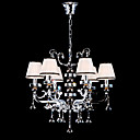 Crystal Chandelier with 6 White Lamp Shade (Chrome Finish)