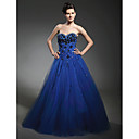 A-line Sweetheart Floor-length Taffeta Tulle Prom Dress