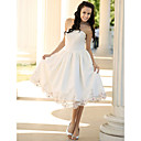 A-Line Strapless Tea-length Lace Wedding Dress