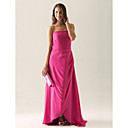A-line Strapless Asymmetrical Chiffon Over Satin Bridesmaid/ Wedding Party Dress