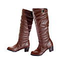 PU tomaia in pelle con tacco basso boot strap scarpa moda (0.987-x3531)