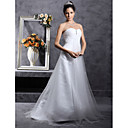A-line Sweetheart Sweep/ Brush Train Satin Tulle Wedding Dress