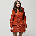 Orange Rabbit Hair Collar Long Sleeves With Belt Coat / Women's Outerwears (FF-A-BK0997012)