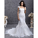 Trumpet/ Mermaid Court Train Organza Wedding Dress With Beaded Appliques