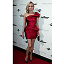 Diane Kruger Sheath/ Column One Shoulder Short/ Mini Satin Cocktail Dress (FSM04387)