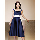 Clearance!A-line Straps Tea-length Satin Bridesmaid/ Wedding Party Dress