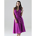 A-line Halter Tea-length Chiffon Bridesmaid/ Wedding Party Dress