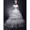 Ball Gown Halter Floor-length Tulle Tiered Wedding Dress
