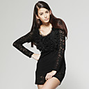 Mental Chain Decorated Layered Ruffles Long Sleeves Dress / Women's Dresses (FF-D-CA1271005)