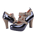 Patent Leather Upper High Heels Closed-toes With Strap Fashion Shoe (1131-8021-1)