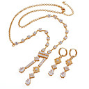 Fashion CZ And Brass With 18K Gold Plated Jewelry Set,Including Necklace,Earrings