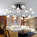 16-light K9 Crystal Ceiling Light With Mini Floral Glass Lampshade (0942-98012-C-16B)