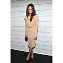 Chrissy Teigen Sheath/ Column Bateau Tea-length Chiffon Grammy/ Cocktail Dress (FSM04600)