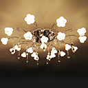 22-light K9 Crystal Ceiling Light With Mini Floral Glass Lampshade (0942-98012-C-22)